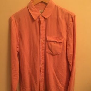 Orange Button Down Long Sleeve Dress Shirt